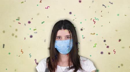 sindrome : girl in a blue medical bandage on the background of flying various bacteria, viruses. possible concept of coronavirus , flu, respiratory and viral diseases spreading