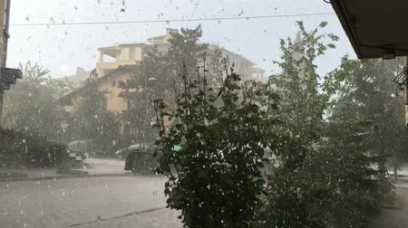 Hailstones downpour with massive rainfall. Weather, thunderstorm hail and torrential rain. Stok Video