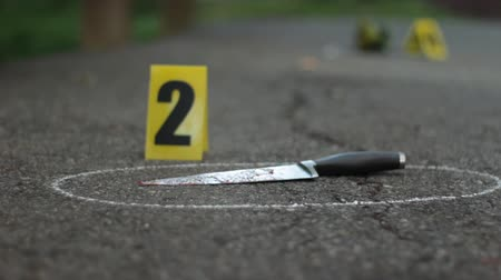 investigar : Closeup of Bloody Knife at Crime Scene