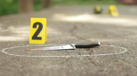 investigar : Bloody Knife and Crime Scene Markers