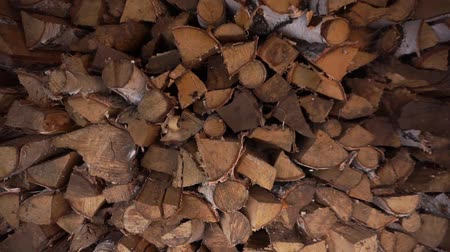 fireside : FireWood in the woodpile. Close up.
