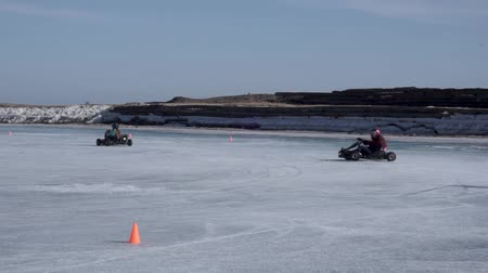 quad bike : Riding a karting on ice. Ice cart-track