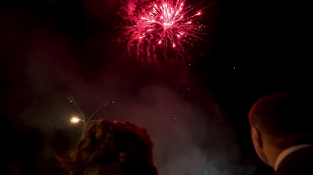saluer : le couple regardant le feu d'artifice