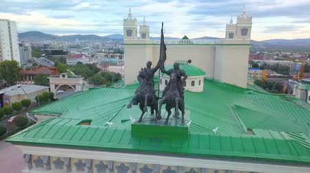 taxi : Buryat State Academic Opera and Ballet Theatre  and Aerial view of the city. aerial survey. Ulan-Ude city