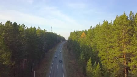 kirándulás : Cars ride on the highway in beautiful nature park. Drone view
