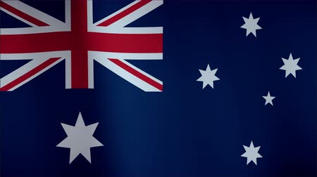 ausztrál : Flag of Australia waving in the wind - seamless loop with highly detailed fabric texture Stock mozgókép