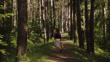 A girl walks through the forest Stock mozgókép