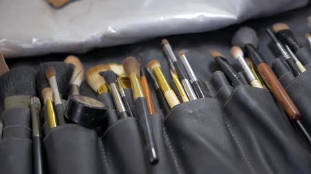 Set of professional make-up artist Stock Footage