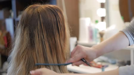 grzebień : Hairdresser shears hair girl