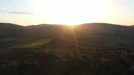 toscane : The drone flies over the wine fields in Italy. Stockvideo