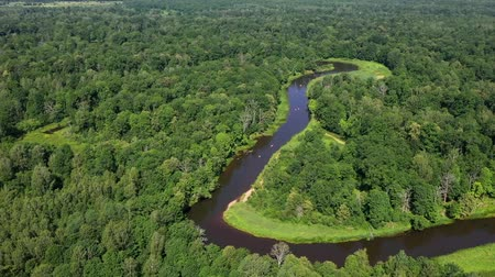 waterways : Stunning view from the height above the river. Stock Footage