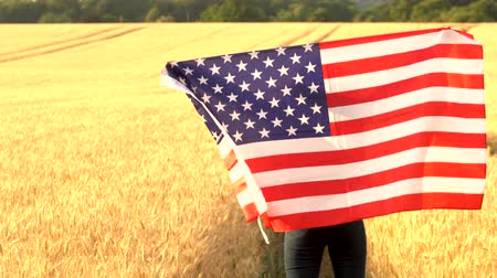 usa independence day : 4K video clip of mixed race African American girl teenager female young woman holding an American USA Stars and Stripes flag in a wheat field at sunset or sunrise
