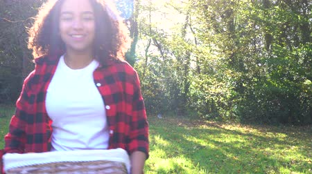 ırklararası : Biracial African American mixed race teenage girl young woman carrying basket of apples past a gray tractor through a sunny apple orchard Stok Video