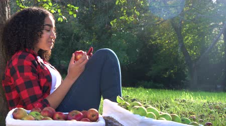 Beautiful African American mixed race teenage girl young woman sitting leaning against a tree in an orchard eating an apple using her mobile cell smart phone for social media Dostupné videozáznamy
