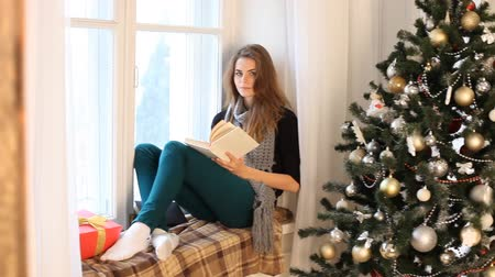 поясница : a girl sits by the window and reading a book new year Стоковые видеозаписи