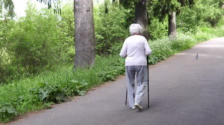 манга : grandmother walks with Nordic walking sticks Стоковые видеозаписи