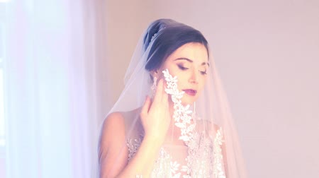 elegant beautiful bride wedding married Stok Video