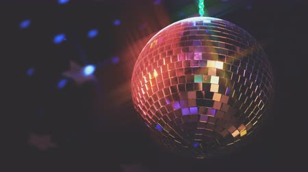 pukkanás : Rotating sparkling disco ball. Concept of night party.
