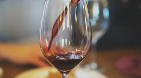 viticultura : Pouring red wine from bottle into glass. Wine degustation.