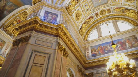 isaac cathedral : Sankt-Petersburg, Russia, 04222018 - Inside of Saint Isaacs Cathedral (Editorial) Stock Footage