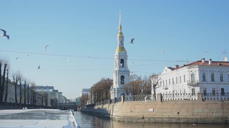 epiphany : Kryukov canal and bell tower of St. Petersburg. Nicholas Cathedral in Saint-Petersburg. Stock Footage