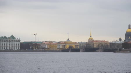 st isaac's cathedral : Hermitage museum, Old Saint Petersburg Stock Exchange and Rostral Columns on the Spit of Vasilievsky Island. Stock Footage