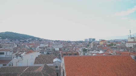 architectural heritage : Panoramic view on the old town of Split, Croatia. Stock Footage