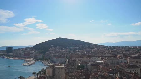 sea port : View on the old town of Split and Marjan park.