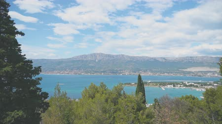 north bay : View on the Kastela city from North Marjan park. Stock Footage