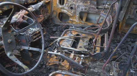 charred : Burned out car after a car accident. Inside view. Stock Footage