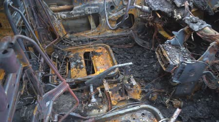 vandalismo : Burned out car after a car accident. Inside view. Stock Footage