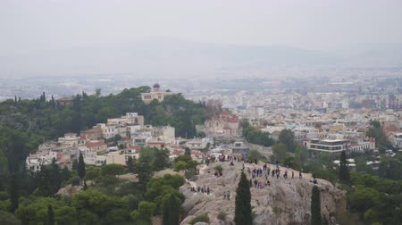 акрополь : Aerial view on Areopagus Hill and Athens National Observatory. Стоковые видеозаписи