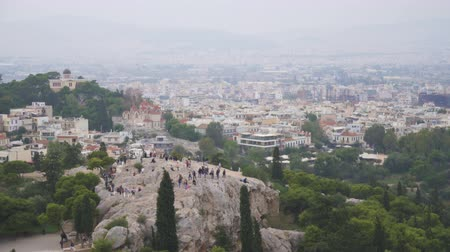 archeological : Aerial view on Areopagus Hill and Athens National Observatory. Stock Footage