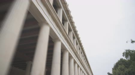 yunan : Stoa of Attalos columns in Athens, Greece. Stok Video