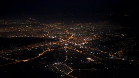 aerial athens : Aerial view of night Athens from the plane.
