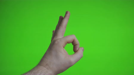 oy : Male hand shows ok gesture. Chroma key. Place for your advertisement. Stok Video