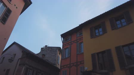 Typical italian street in Como town, Italy. Stock Footage