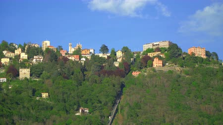 Brunate city view from the Como lake. Stock Footage