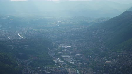 bellagio : Aerial view on Cernobbio town from Brunate mountain.