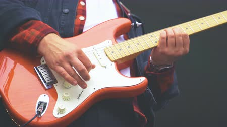 rocker : Electric and bass guitars in action. Stock Footage