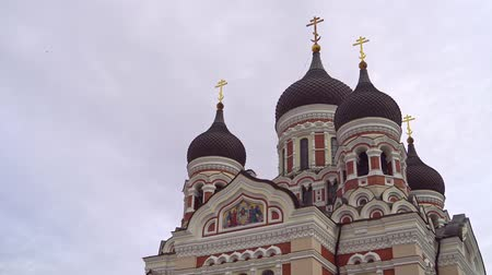 estonya : Alexander Nevsky Cathedral in Tallinn. Stok Video