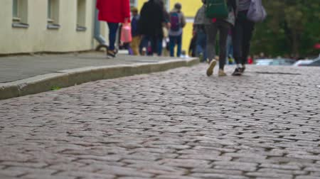 estonya : Pavement made of bricks in old town with tourists.