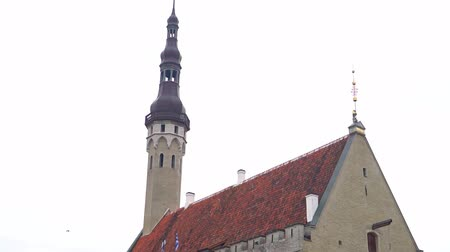 Észtország : Town hall building with an old Thomas in Tallinn.