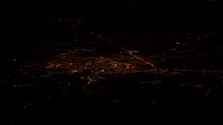 altitude : European city at night. View from the plane.