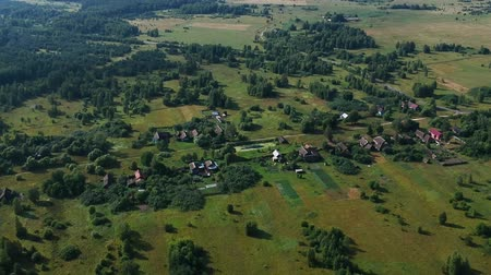 bűbájos : Flight on the Russian village on a summer day, Bokros green forests and fields