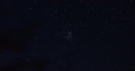celestial : Timelapse of the Pleiades star cluster movement in the night sky Stock Footage