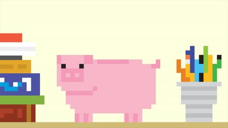 risco : Piggy bank and falling gold coins. Pixel art game style HD finance animation.