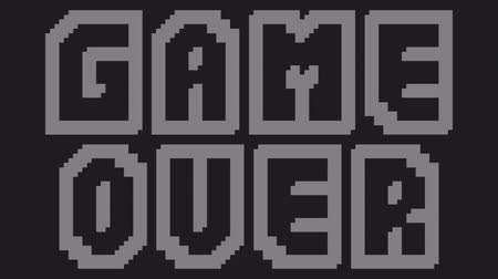 denominado retro : A videogame ending screen, saying Game over. 8-bit pixel art retro style. HD animation.