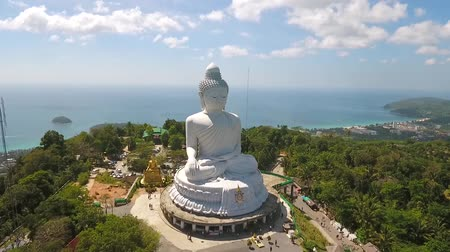 budha : Big Buddha Statue Close Up Aerial View. Phuket, Thailand.