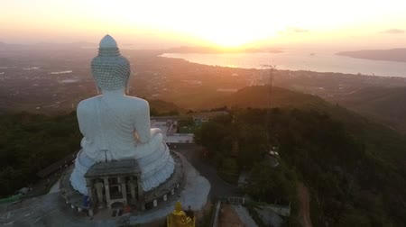 budha : Sunrise View From Back of Big Buddha Statue. HD Aerial View. Phuket, Thailand.